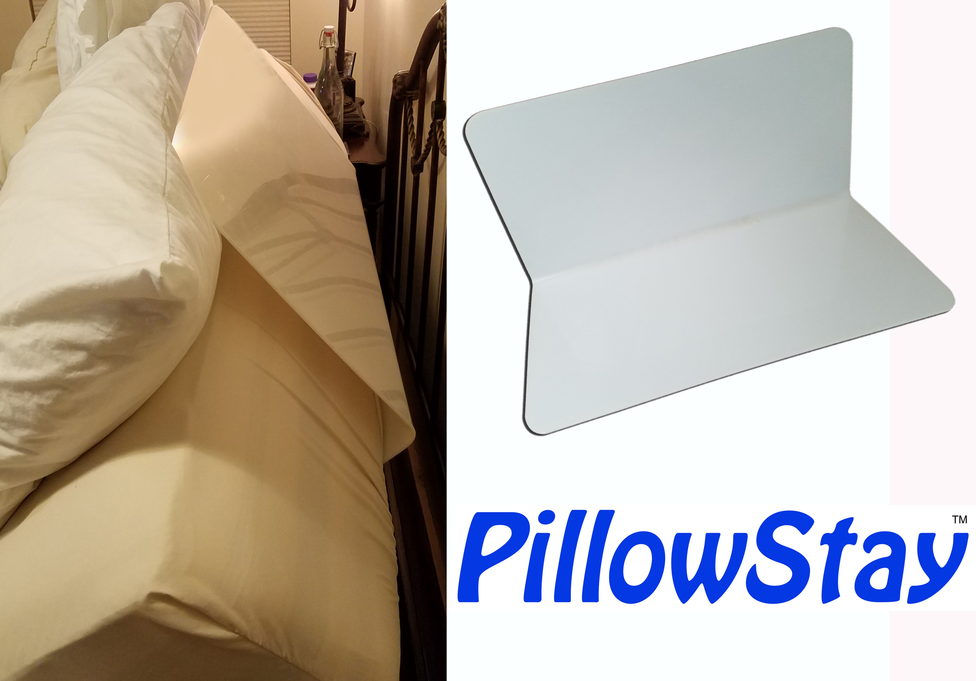 PillowStay Adjustable Bed Pillow Keeper - Instant Headboard